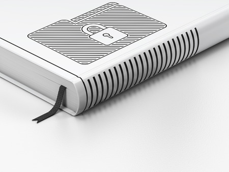 black and white lock: Finance concept: closed book with Black Folder With Lock icon on floor, white background, 3D rendering