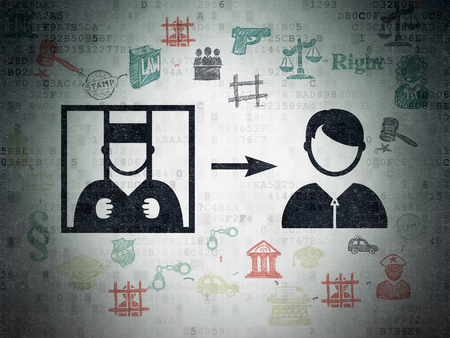 court process: Law concept: Painted black Criminal Freed icon on Digital Data Paper background with Scheme Of Hand Drawn Law Icons Stock Photo