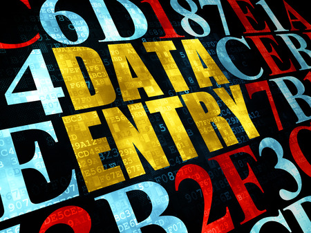 data entry: Information concept: Pixelated yellow text Data Entry on Digital wall background with Hexadecimal Code