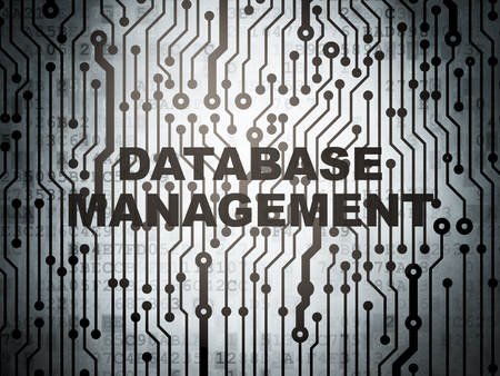 database management: Programming concept: circuit board with  word Database Management, 3D rendering