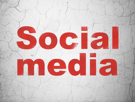 microblog: Social media concept: Red Social Media on textured concrete wall background