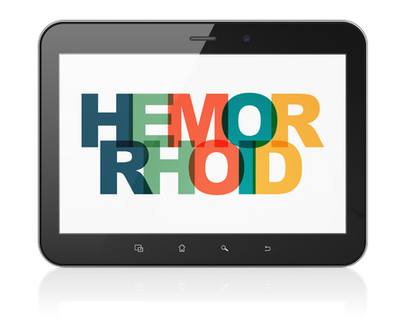 hemorrhoid: Medicine concept: Tablet Computer with Painted multicolor text Hemorrhoid on display, 3D rendering