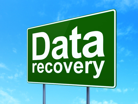 road to recovery: Information concept: Data Recovery on green road highway sign, clear blue sky background, 3D rendering