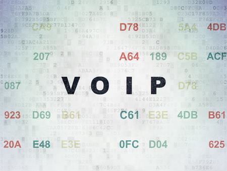 voip: Web development concept: Painted black text VOIP on Digital Data Paper background with Hexadecimal Code Stock Photo