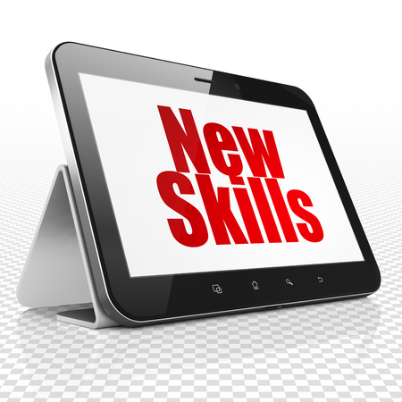 learning new skills: Learning concept: Tablet Computer with red text New Skills on display, 3D rendering Stock Photo