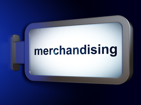 merchandising: Marketing concept: Merchandising on advertising billboard background, 3D rendering
