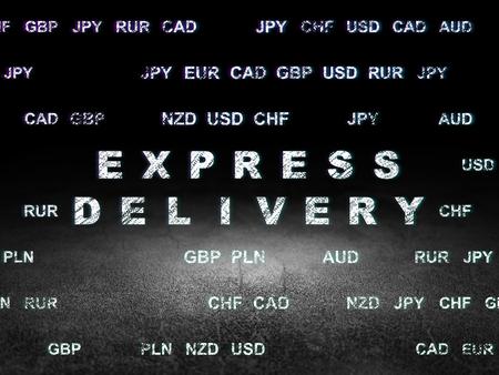 sala parto: concetto di Finanza: il testo Glowing consegna espressa nel grunge stanza buia con pavimento sporco, sfondo nero con valuta