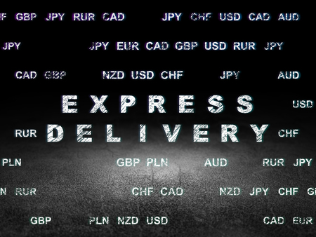sala parto: Finance concept: Glowing text Express Delivery in grunge dark room with Dirty Floor, black background with Currency