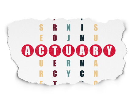 actuary: Insurance concept: Painted red word Actuary in solving Crossword Puzzle on Torn Paper background