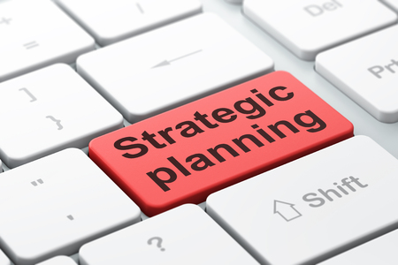 strategic focus: Finance concept: computer keyboard with word Strategic Planning, selected focus on enter button background, 3D rendering