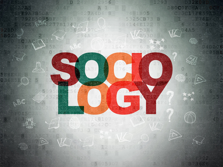 sociologia: Aprendizaje de conceptos: Pintado Sociología texto multicolor en el fondo de papel de Datos Digitales con iconos de educación dibujado a mano Foto de archivo