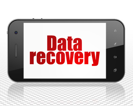 data recovery: Information concept: Smartphone with red text Data Recovery on display, 3D rendering
