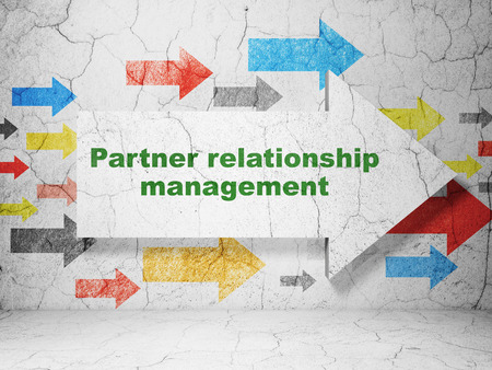 relationship management: Finance concept:  arrow with Partner Relationship Management on grunge textured concrete wall background, 3D rendering