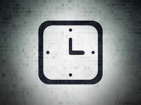 cronologia: Concepto de tiempo: Pintado icono del reloj negro sobre fondo de papel de Datos Digitales