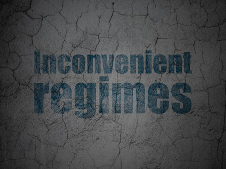 inconvenient: Politics concept: Blue Inconvenient Regimes on grunge textured concrete wall background Stock Photo