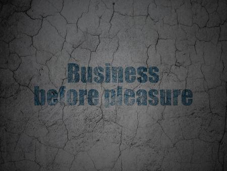 pleasure: Finance concept: Blue Business Before pleasure on grunge textured concrete wall background