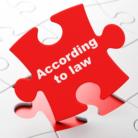 lex: Law concept: According To Law on Red puzzle pieces background, 3D rendering Stock Photo