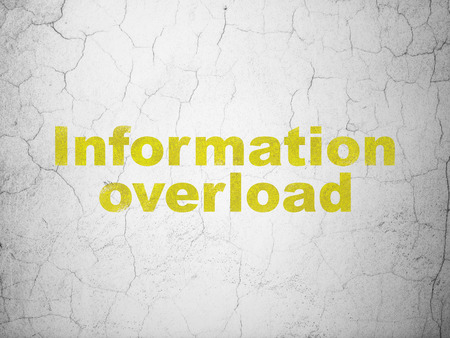 overload: Information concept: Yellow Information Overload on textured concrete wall background