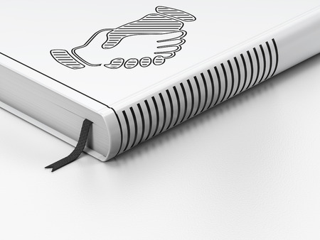 black handshake: Finance concept: closed book with Black Handshake icon on floor, white background, 3D rendering