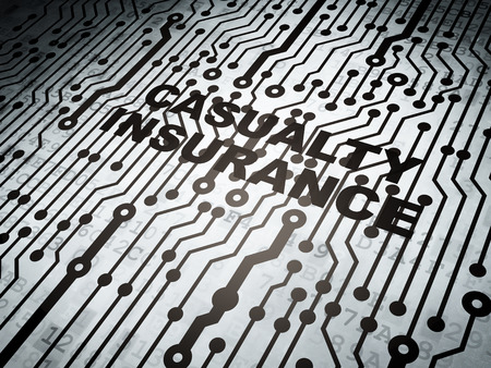 casualty: Insurance concept: circuit board with  word Casualty Insurance, 3D rendering
