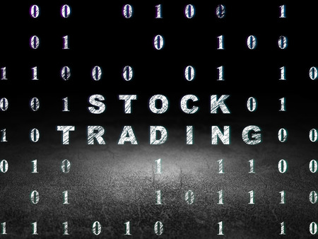 trading floor: Business concept: Glowing text Stock Trading in grunge dark room with Dirty Floor, black background with Binary Code Stock Photo