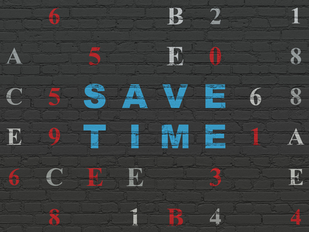 save time: Timeline concept: Painted blue text Save Time on Black Brick wall background with Hexadecimal Code Stock Photo