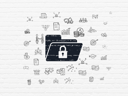 black and white lock: Finance concept: Painted black Folder With Lock icon on White Brick wall background with  Hand Drawn Business Icons Stock Photo