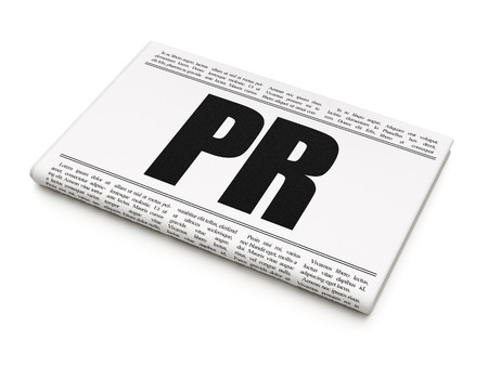 articles: Advertising concept: newspaper headline PR on White background, 3D rendering