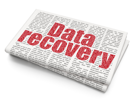 data recovery: Data concept: Pixelated red text Data Recovery on Newspaper background, 3D rendering