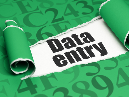 data entry: Data concept: black text Data Entry under the curled piece of Green torn paper with  Hexadecimal Code, 3D rendering Stock Photo