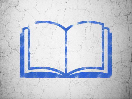 blue book: Science concept: Blue Book on textured concrete wall background