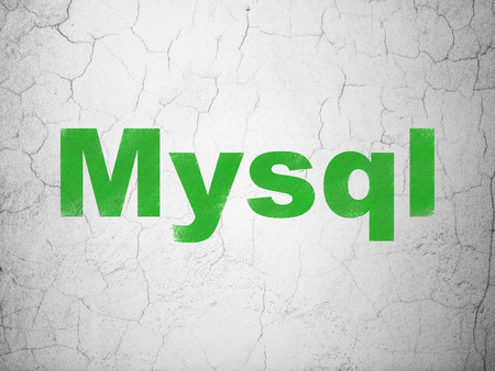 mysql: Programming concept: Green MySQL on textured concrete wall background