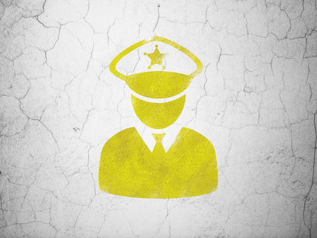 concrete court: Protection concept: Yellow Police on textured concrete wall background Stock Photo