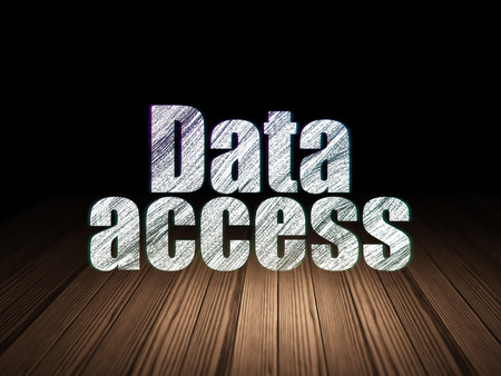 room access: Data concept: Glowing text Data Access in grunge dark room with Wooden Floor, black background
