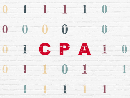 cpa: Finance concept: Painted red text CPA on White Brick wall background with Binary Code