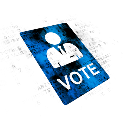pixelated: Political concept: Pixelated blue Ballot icon on Digital background