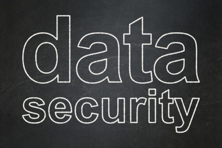 passkey: Security concept: text Data Security on Black chalkboard background