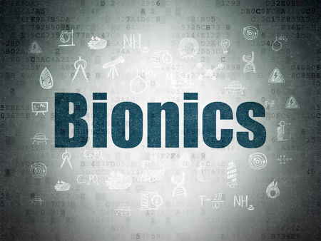 bionics: Science concept: Painted blue text Bionics on Digital Data Paper background with  Hand Drawn Science Icons