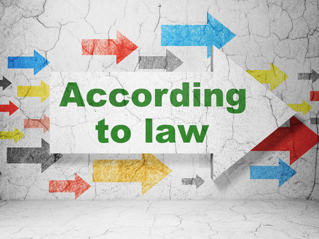 according: Law concept:  arrow with According To Law on grunge textured concrete wall background, 3D rendering Stock Photo