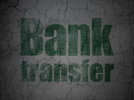 bank transfer: Money concept: Green Bank Transfer on grunge textured concrete wall background Stock Photo