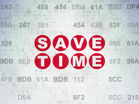 hexadecimal: Timeline concept: Painted red text Save Time on Digital Data Paper background with Hexadecimal Code