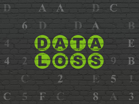 data loss: Data concept: Painted green text Data Loss on Black Brick wall background with Hexadecimal Code