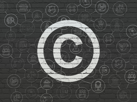 court process: Law concept: Painted white Copyright icon on Black Brick wall background with Scheme Of Hand Drawn Law Icons