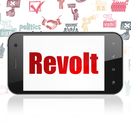 revolt: Politics concept: Smartphone with  red text Revolt on display,  Hand Drawn Politics Icons background, 3D rendering