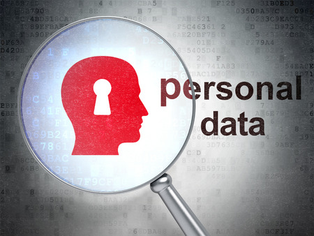personal data: Data concept: magnifying optical glass with Head With Keyhole icon and Personal Data word on digital background, 3D rendering