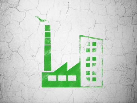 abandoned warehouse: Industry concept: Green Industry Building on textured concrete wall background