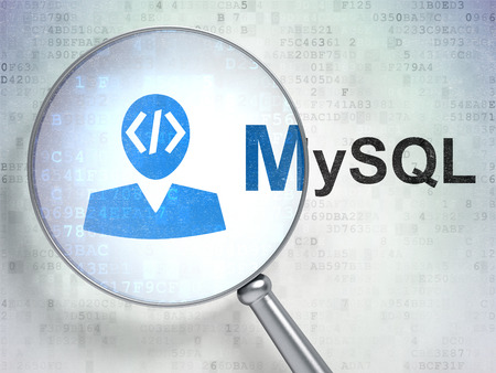 mysql: Programming concept: magnifying optical glass with Programmer icon and MySQL word on digital background, 3D rendering