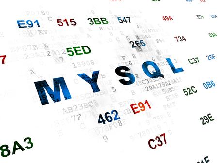 mysql: Database concept: Pixelated blue text MySQL on Digital wall background with Hexadecimal Code