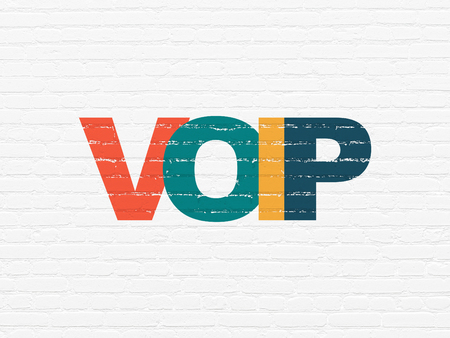 voip: Web development concept: Painted multicolor text VOIP on White Brick wall background