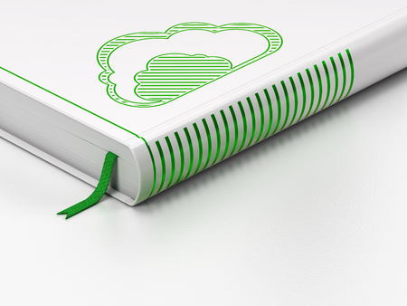green computing: Cloud computing concept: closed book with Green Cloud icon on floor, white background, 3D rendering Stock Photo
